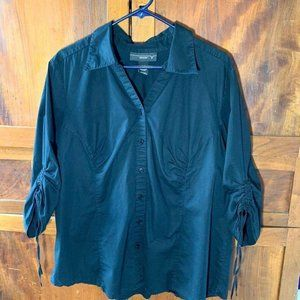 Venezia button up blouse gathered sleeves collared